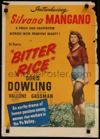 7m0012 BITTER RICE 15x21 special poster 1948 Vittorio Gassman, primitive beauty Silvana Mangano!