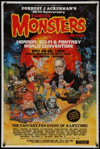 7m0002 FAMOUS MONSTERS OF FILMLAND 24x36 special poster 1992 Freas art, advertising convention!
