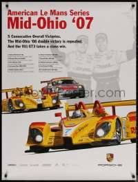 7m0036 PORSCHE 30x40 special poster 2007 image of drivers and art of race car, Le Mans Mid-Ohio!