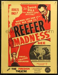7m0037 REEFER MADNESS 17x22 special poster R1972 marijuana is the sweet pill that makes life bitter!