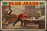 8a0096 BLUE JEANS 28x42 stage poster 1890 stone litho of man about to be bisected by sawblade!