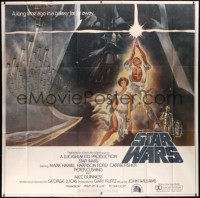 8d0018 STAR WARS 6sh 1977 George Lucas, iconic Tom Jung art of Luke & Leia with Vader behind, rare!
