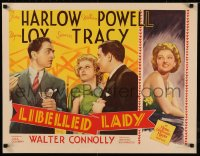 8d0033 LIBELED LADY 1/2sh 1936 Jean Harlow, William Powell, Spencer Tracy, Myrna Loy, ultra rare!