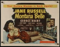 8d0034 MONTANA BELLE style B 1/2sh 1952 George Brent, sexy Jane Russell, that Outlaw woman is back!