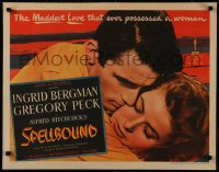 8d0036 SPELLBOUND 1/2sh 1945 Hitchcock, super close up of Ingrid Bergman & Gregory Peck, very rare!