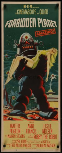8d0023 FORBIDDEN PLANET insert 1956 most classic art of Robby the Robot carrying sexy Anne Francis!