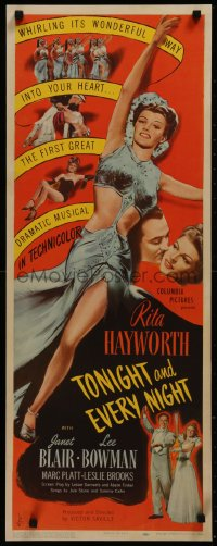 8d0026 TONIGHT & EVERY NIGHT insert 1944 completely different images of Rita Hayworth, rare!
