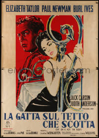 8d0009 CAT ON A HOT TIN ROOF Italian 2p 1959 different art of Liz Taylor & Paul Newman, ultra rare!