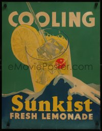 8d0017 SUNKIST 21x27 advertising poster 1930s cool art of glass of fresh ice cold lemonade, rare!