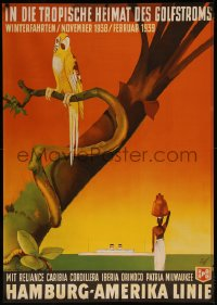 8d0011 HAMBURG AMERICA LINE Golfstroms 33x47 German travel poster 1938 Fuss art of parrot & ship!