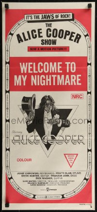 8f0176 ALICE COOPER: WELCOME TO MY NIGHTMARE Aust daybill 1975 it's the JAWS of rock, Alice Cooper!