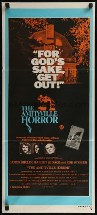 8f0179 AMITYVILLE HORROR Aust daybill 1979 great image of haunted house, for God's sake get out!