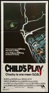 8f0218 CHILD'S PLAY Aust daybill 1988 Chucky gives Freddy nightmares, he is one mean S.O.B.!