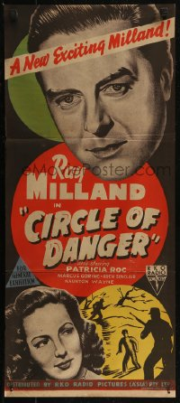 8f0221 CIRCLE OF DANGER Aust daybill 1951 Ray Milland on a manhunt, directed by Jacques Tourneur!