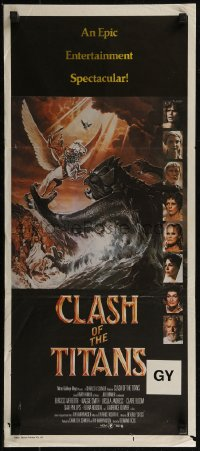 8f0222 CLASH OF THE TITANS Aust daybill 1981 Ray Harryhausen, cool fantasy art by Daniel Goozee!