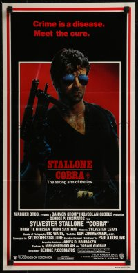 8f0223 COBRA Aust daybill 1986 crime is a disease and Sylvester Stallone is the cure, John Alvin art!