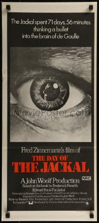 8f0232 DAY OF THE JACKAL Aust daybill 1973 Fred Zinnemann assassination classic, killer Edward Fox!