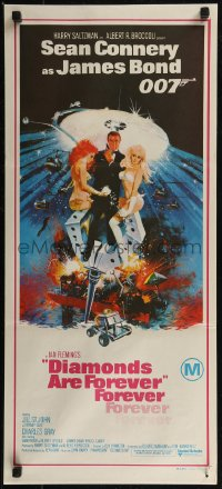 8f0235 DIAMONDS ARE FOREVER Aust daybill 1971 art of Connery as James Bond by Robert McGinnis!