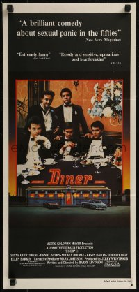 8f0236 DINER Aust daybill 1983 Barry Levinson, Kevin Bacon, Daniel Stern, Rourke, art by Joe Garnett