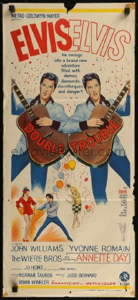 8f0239 DOUBLE TROUBLE Aust daybill 1967 cool mirror image of rockin' Elvis Presley playing guitar!