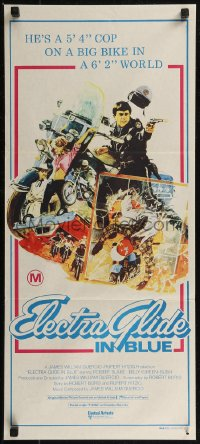 8f0242 ELECTRA GLIDE IN BLUE Aust daybill 1973 cool art of motorcycle cop Robert Blake!