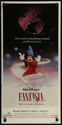 8f0248 FANTASIA Aust daybill R1982 Mickey from Sorcerer's Apprentice, Chernabog, great images!