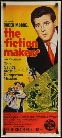 8f0254 FICTION MAKERS Aust daybill 1970 artwork of Roger Moore as Leslie Charteris' The Saint!