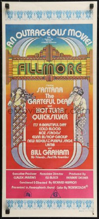 8f0256 FILLMORE Aust daybill 1972 Grateful Dead, Santana, rock & roll concert, cool Byrd art!