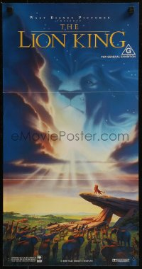 8f0320 LION KING Aust daybill 1994 Disney Africa cartoon, cool image of Mufasa in sky, blue style!