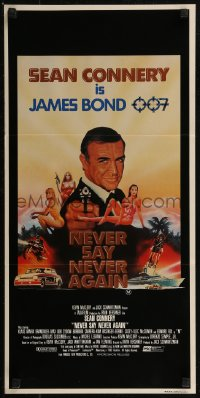 8f0344 NEVER SAY NEVER AGAIN Aust daybill 1983 art of Sean Connery as James Bond 007 by R. Obrero!