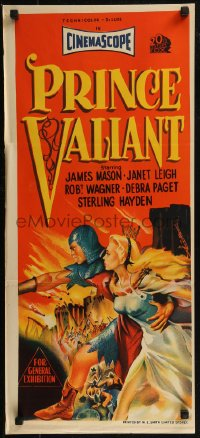 8f0375 PRINCE VALIANT Aust daybill 1954 art of Robert Wagner in armor & sexy Janet Leigh!