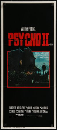 8f0378 PSYCHO II Aust daybill 1983 Anthony Perkins as Norman Bates, creepy image of classic house!