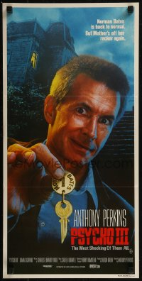 8f0379 PSYCHO III Aust daybill 1986 close image of Anthony Perkins as Norman Bates, horror sequel!