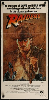 8f0382 RAIDERS OF THE LOST ARK Aust UIP daybill 1981 great Richard Amsel artwork of Harrison Ford!