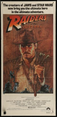 8f0381 RAIDERS OF THE LOST ARK Aust CIC daybill 1981 great Richard Amsel artwork of Harrison Ford!