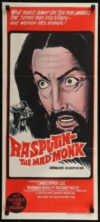 8f0383 RASPUTIN THE MAD MONK Aust daybill 1966 close up of crazed Christopher Lee, wacky free beard offer!
