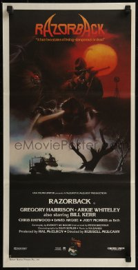 8f0384 RAZORBACK Aust daybill 1984 Australian horror, cool artwork by Brian Clinton!