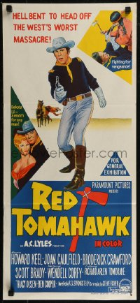 8f0386 RED TOMAHAWK Aust daybill 1966 Redskin vengeance, prairie blazes with West's worst massacre!