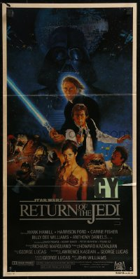 8f0388 RETURN OF THE JEDI style B Aust daybill 1983 George Lucas classic, Hamill, Ford, Sano art!