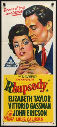 8f0389 RHAPSODY Aust daybill R1960s Elizabeth Taylor must possess Gassman, heart, body & soul!