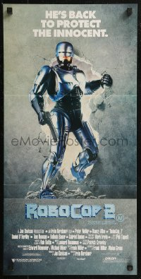 8f0391 ROBOCOP 2 Aust daybill 1990 cyborg policeman Peter Weller busts through wall, sci-fi sequel!