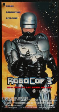 8f0392 ROBOCOP 3 Aust daybill 1993 great close up of cyborg cop Robert Burke pointing gun!