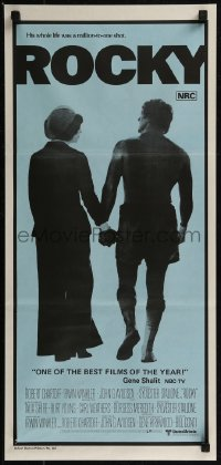 8f0394 ROCKY Aust daybill 1977 Sylvester Stallone with Talia Shire, boxing, blue background!