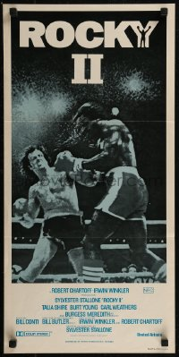 8f0395 ROCKY II Aust daybill R1980s Sylvester Stallone & Carl Weathers fight in ring, boxing sequel!