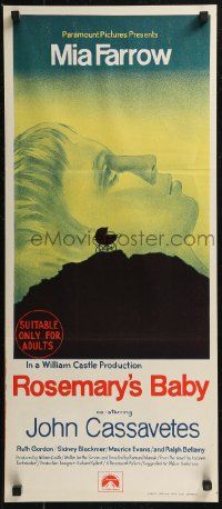 8f0398 ROSEMARY'S BABY Aust daybill 1968 Polanski, Farrow, different baby carriage horror art!