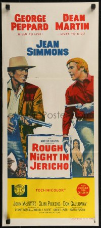 8f0399 ROUGH NIGHT IN JERICHO Aust daybill 1967 Dean Martin & George Peppard with guns drawn!