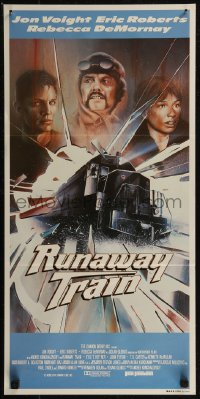 8f0400 RUNAWAY TRAIN Aust daybill 1985 Mahon art of Jon Voight, Eric Roberts & Rebecca DeMornay!