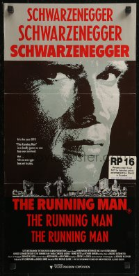 8f0401 RUNNING MAN Aust daybill 1987 huge close up headshot of Arnold Schwarzenegger!
