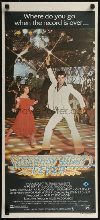 8f0402 SATURDAY NIGHT FEVER Aust daybill 1977 disco dancer John Travolta & Karen Gorney, R-rated!