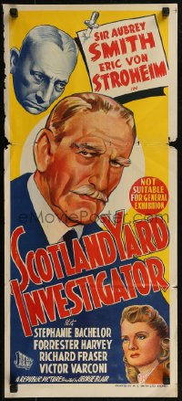 8f0403 SCOTLAND YARD INVESTIGATOR Aust daybill 1945 art of Erich Von Stroheim, Aubrey Smith, rare!